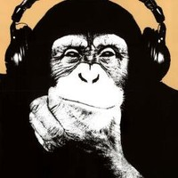 Steez (Headphone Chimp) Art Poster Print - 24x36 custom fit with RichAndFramous Black 24 inch Poster Hangers