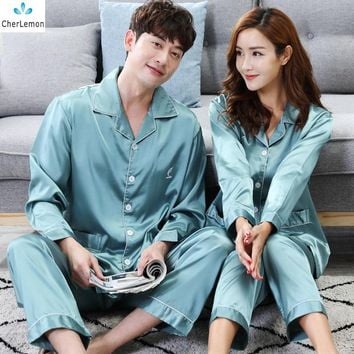 CherLemon Couple Matching Silk Satin Pajama Set