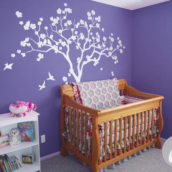 Large Tree White Tree Blossom Nursery Tree Wall Mural Kids Nursery Bedroom Decor Wall Decals Birch Tree With Birds Sticker D-308