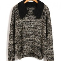 Retro Fleck Yarn Knit Jumper with Contrast Point Collar
