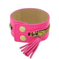 Chica - Hot Pink PU Leather Cuff Bracelet