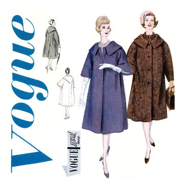 1950s Flared Coat Pattern Bust 32 Vogue 4020 Wide Shaped Collar Clutch or Front Button Two Sleeve Lengths Womens Vintage Sewing Patterns