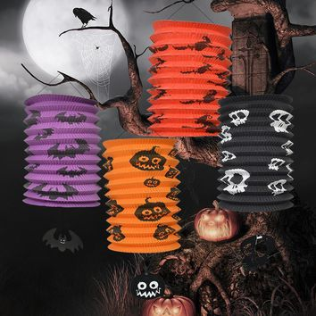 The Hallween Scary LED Paper Skull Pumpkin Hanging Lantern Halloween Props Outdoor Party Supplies For Home Decoration Accessory