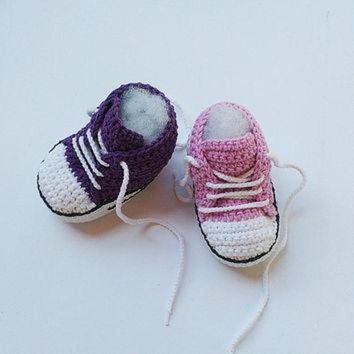 CREYUG7 Pink Crochet Baby shoes, Purple Crochet Baby shoes, Baby sneakers, Converse style croc