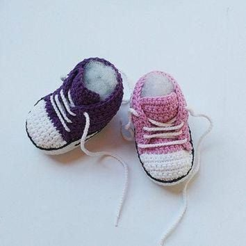 MDIGUG7 Pink Crochet Baby shoes, Purple Crochet Baby shoes, Baby sneakers, Converse style croc