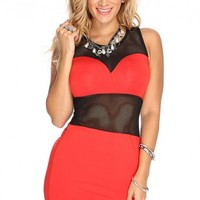Red Netted Sexy Bodycon Dress