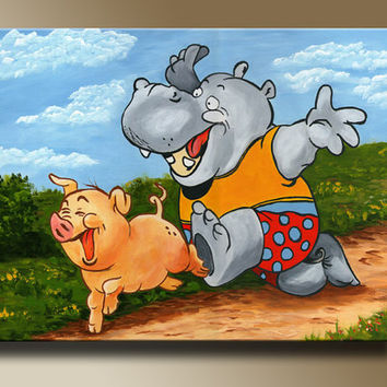 Hippo and Piggy Original Acrylic Painting Print on Canvas Children Art Wall Art Home decor