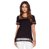 Black Short Sleeve Blouse with Mesh Accent