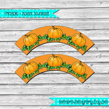 Thanksgiving or Halloween Pumpkin Cupcake Wrapper Set – retro pumpkin pictures on orange wraps - printable party supplies - INSTANT DOWNLOAD