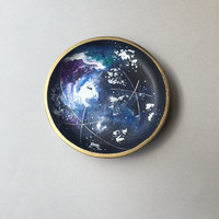 Galaxy Moon Jewelry Dish, Catch-Alls Trinket Container, Acrylic Celestial Art, Cosmic Universe Ring Dish, Boho Gypsy Decor, Gifts for Women
