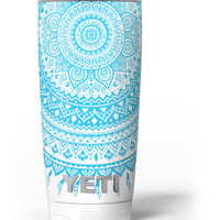 Bright Blue Circle Mandala v3 Yeti Rambler Skin Kit