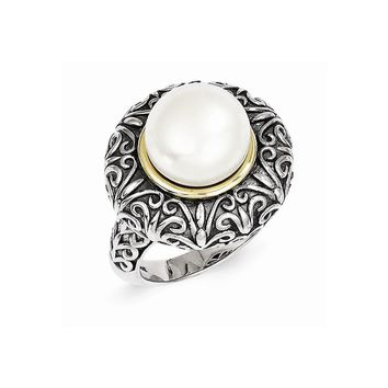 Antique Style Sterling Silver 12mm Freshwater Cultured Pearl Ring