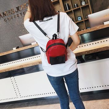 Student Backpack Children Best Sale Sen Backpack New Fashion Campus Student Backpack All Match Personality Lady Backpack Fashion Girl Stitching Backpack AT_49_3