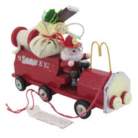 Vintage Kurt Adler Hershey's Chocolate Santa Fire Engine Deliver Gifts Christmas Tree Ornament Circa 1985