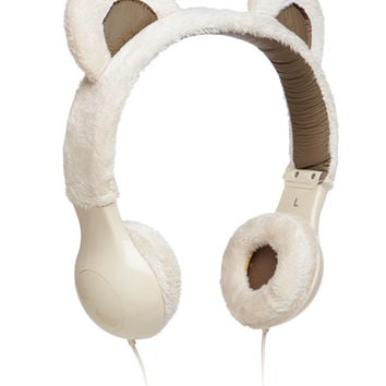 Furry Plush Headphones - Black Kitty