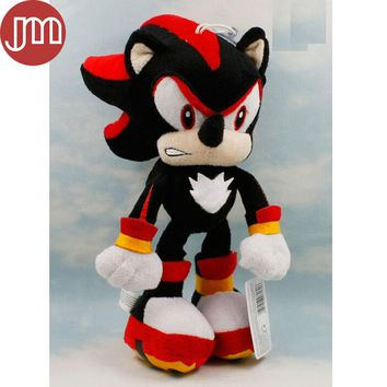 New Sonic Shadow the Hedgehog Black Plush Peluches Doll with Sucker 29cm Anime Figure Baby Dolls Brinquedos Kids Toys Collection