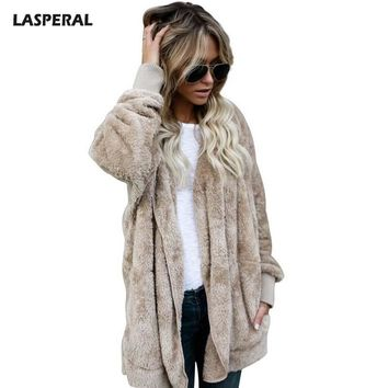 LASPERAL New Year Fashion Faux Fur Jacket Teddy Bear Coat Women Open Stitch Hooded Coat Female Autumn Fuzzy Long Sleeve Jacket