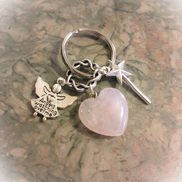Rose Quartz Pretty Heart, Wand, Angels Watching Over Me Charm Keyring/ Keychain with FREE Bag & Angel Message Card. Love Crystal.