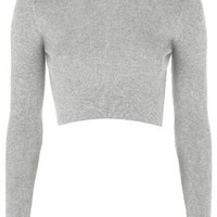 Ribbed Crew Neck Cropped Jumper - Grey Marl