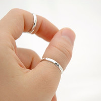 Simple Sterling Silver Stack Hammered  Band Ring - Above Knuckle Ring