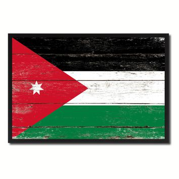 Jordan Country National Flag Vintage Canvas Print with Picture Frame Home Decor Wall A
