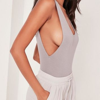 Missguided - Scoop Back Bodysuit Grey