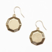 Gold Crystal-Embellished Octagonal Earring