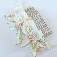 Beautiful Beaded Floral Bridal Hair Comb