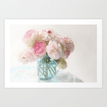 pink roses in blue jar Art Print by sylviacookphotography
