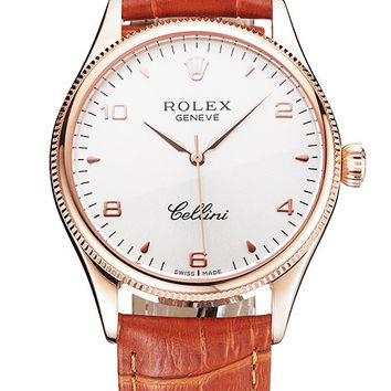 Swiss Rolex Cellini White Dial Arabic Numerals Rose Gold Case Light Brown Leather Strap