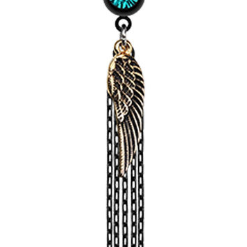 Blackline Fallen Angel Wing Chain Tassel Belly Button Ring