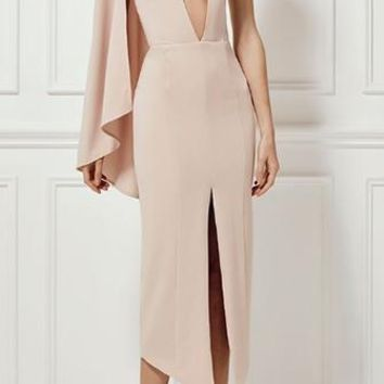 Always A Classic Beige Sleeveless Halter Asymmetric Cape Plunge V Neck Front Slit Midi Dress