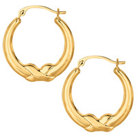 10K Yellow Gold X Design Round Shape Hoop Earrings