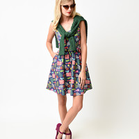 Retro Style Purple Holiday Leaves Sleeveless Flare Dress