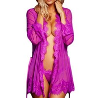 Pajamas For Women 2016 New Sexy lingerie hot Erotic Lingerie Sleepwear 5 Colors Lace Trim Robe with Thong R80182 One Size XXL