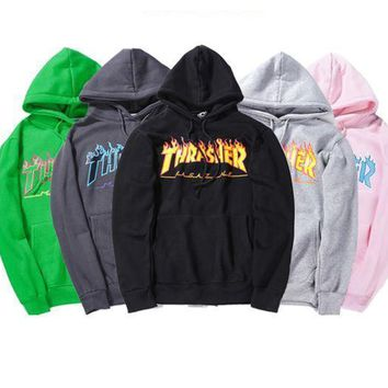 Thrasher2017 autumn and winter flame hooded sweater fashion wild men and women couple hooded sweater-1