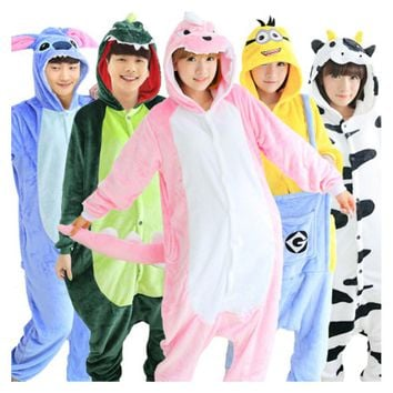 Unicorn Stitch Panda Unisex Flannel Hoodie Pajamas Costume Cosplay Animal Onesuits Sleepwear For Men Women Adults