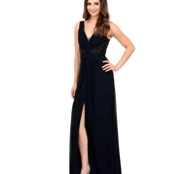 Black Gathered Rhinestone Embroidered Chiffon Long Dress 2015 Prom Dresses