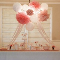 Paper Lanterns | Paper Pom Poms | Birthday Party | Nursery Decor | Bridal Shower | Custom Colors