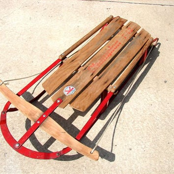 Vintage Paris Champion F42 Metal and Wood Snow Sled  by ThirdShift