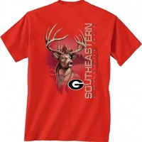 Georgia Bulldogs Graphite Deer T-Shirt | UGA Graphite Deer Tee | Georgia Bulldogs Deer T-Shirt