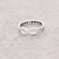 Best Friend Infinity ring Cubic Zirconia Setting in White Gold Color