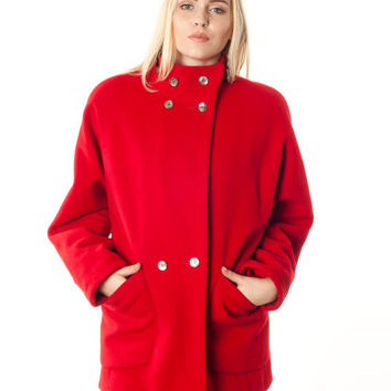 Vintage Red Coat. Gallery Bright Red Double Breasted High-Collar Wool Coat
