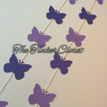 Butterfly paper garland, purple butterfly, butterfly decor, birthday decor, wedding decor, party decor, birthday garland, butterfly garland