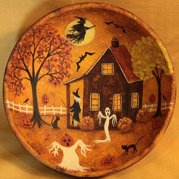 Halloween Primitive Folk Art Wood Bowl - Hand painted MADE TO ORDER - Witch Sweeping her Porch, Bats, Full Moon, Black Cats,