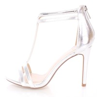 Silver High Polish T Strap Single Sole Heels Faux Leather