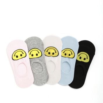 5 Pack Smiley Face No Show Below Ankle Socks - Multicolored