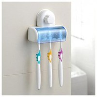 Convenient Sucker Five Place ABS White Toothbrush Holder China Wholesale - Sammydress.com