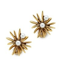 Oscar de la Renta Starburst Imitation Pearl Earrings