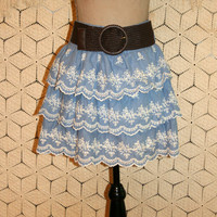 Sky Blue Skirt Tiered Ruffle Skirt Scallop Eyelet Lace Country Boho Skirt Size 14 Skirt Size 16 Skirt Womens Clothing Plus Size Clothing